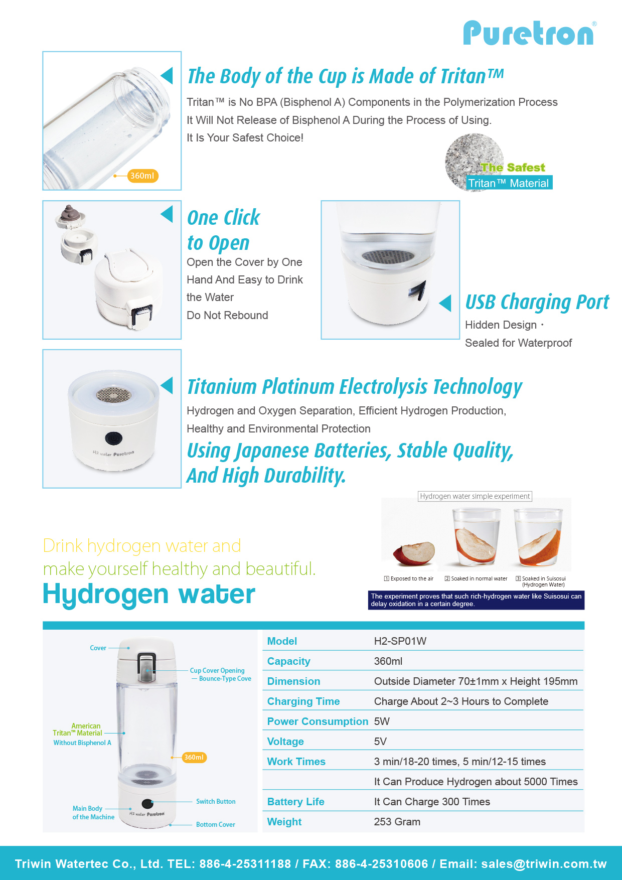 H2-SP01W Hydrogen water bottle.